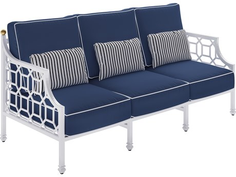 Castelle Barclay Butera Deep Seating Aluminum Cushioned Sofa with Three Accent Pillows