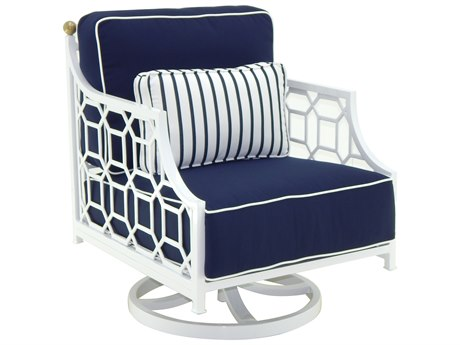 Castelle Barclay Butera Deep Seating Aluminum Cushioned Lounge Swivel Rocker with One Accent Pillow