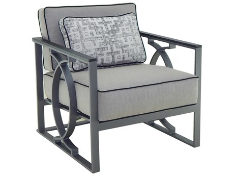 Castelle Sunrise Deep Seating Cast Aluminum Cushion Lounge Chair with One Pillow