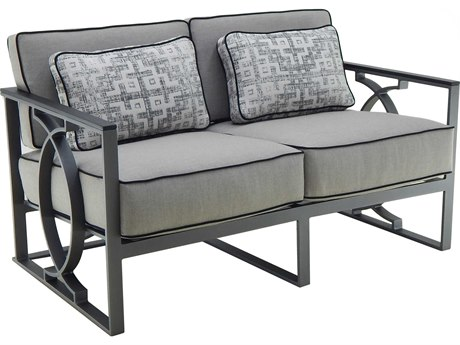 Castelle Sunrise Deep Seating Cast Aluminum Cushion Loveseat with Two Pillows