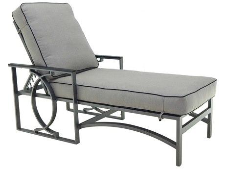 Castelle Sunrise Cushion Cast Aluminum Adjustable Chaise Lounge with Wheels