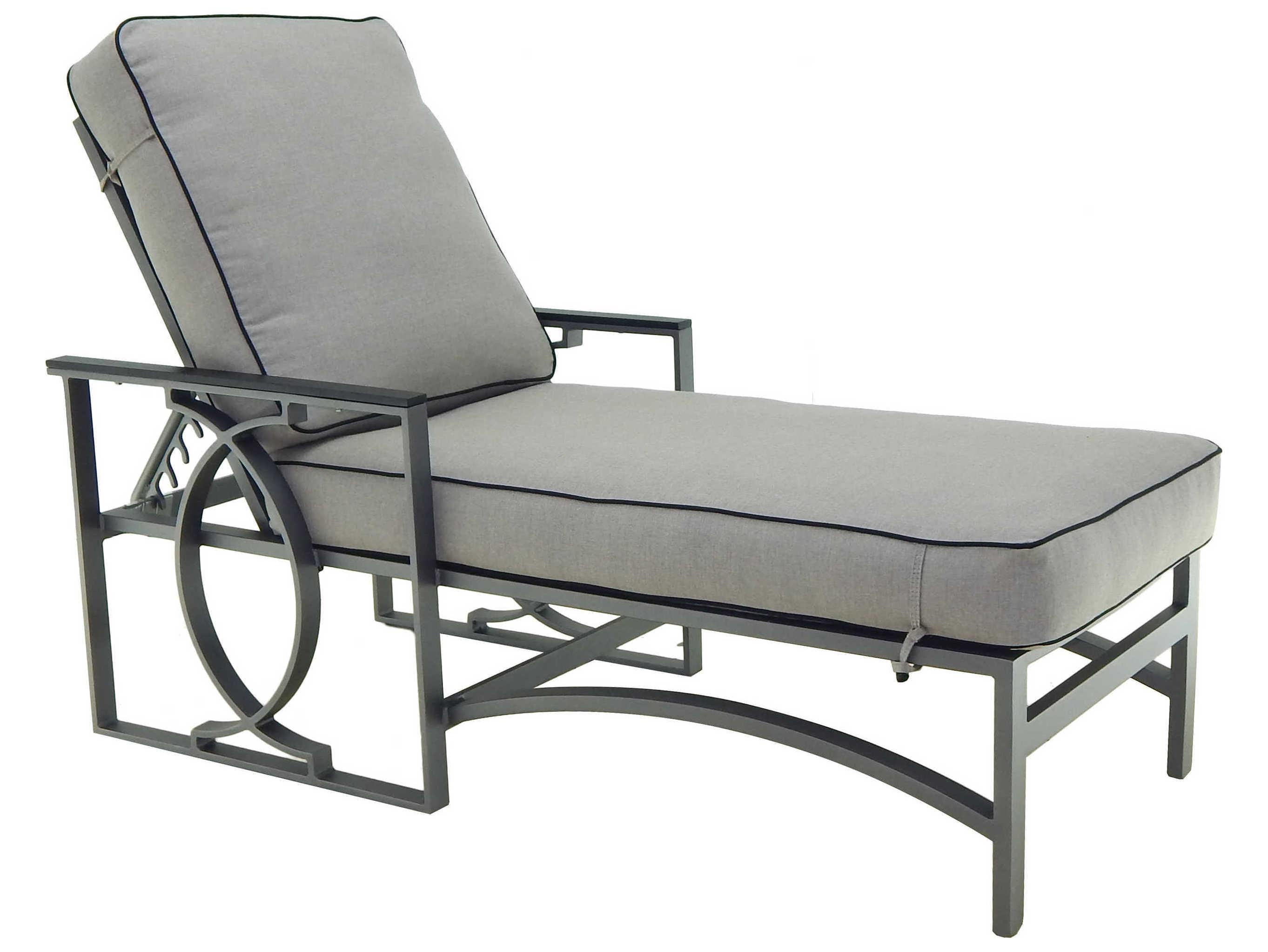 Castelle sunrise cushion cast aluminum adjustable chaise for Cast aluminum chaise lounge with wheels