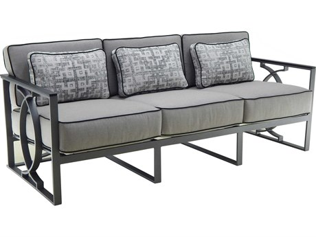 Castelle Sunrise Deep Seating Cast Aluminum Cushion Sofa with Three Pillows PF6414T