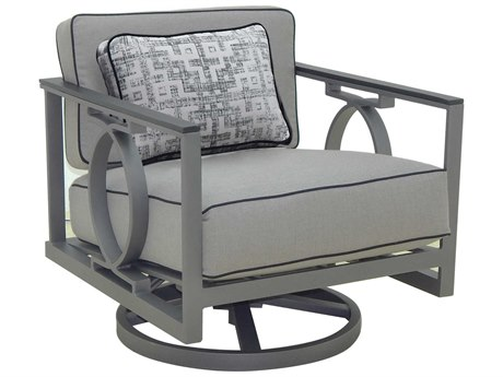 Castelle Sunrise Deep Seating Cast Aluminum Cushion Lounge Swivel Rocker with One Pillow