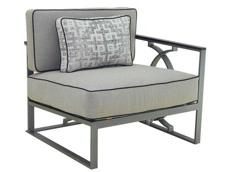 Castelle Sunrise Sectional Cast Aluminum Cushion Left Arm Lounge Unit with One Pillow