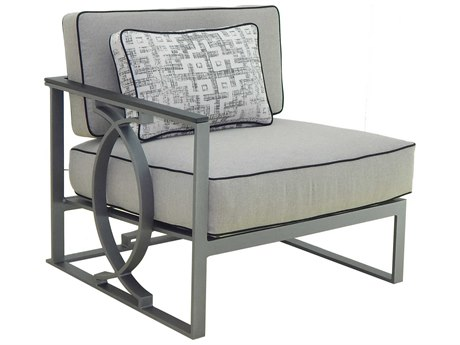 Castelle Sunrise Sectional Cast Aluminum Cushion Right Arm Lounge Unit with One Pillow