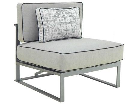 Castelle Sunrise Sectional Cast Aluminum Cushion Armless Lounge Unit with One Pillow