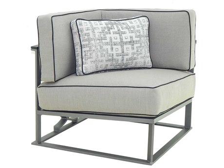 Castelle Sunrise Sectional Cast Aluminum Cushion Square Corner Unit with One Pillow