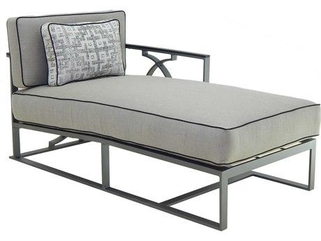 Castelle Sunrise Sectional Cast Aluminum Cushion Left End Chaise Lounge Unit with One Pillow
