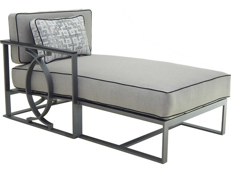 Castelle Sunrise Sectional Cast Aluminum Cushion Right End Chaise Lounge Unit with One Pillow