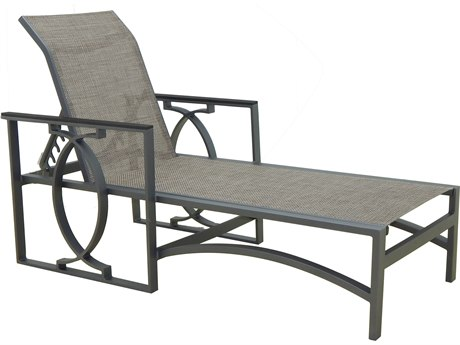 Castelle Sunrise Sling Cast Aluminum Adjustable Chaise Lounge