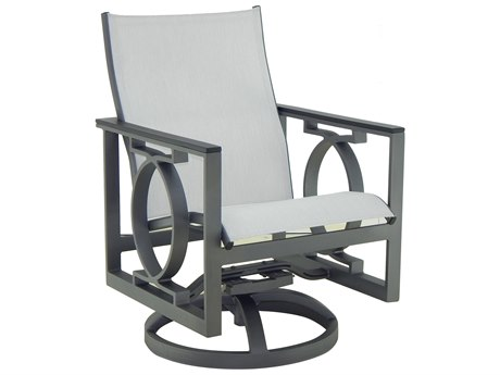 Castelle Sunrise Sling Cast Aluminum Swivel Rocker