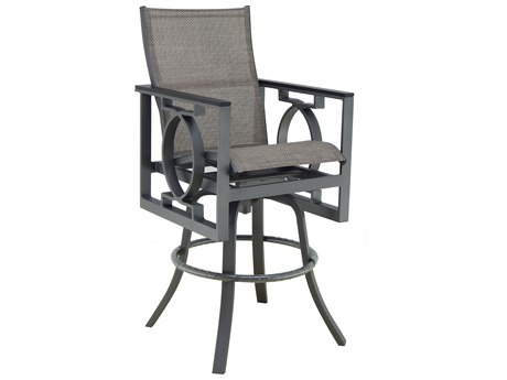 Castelle Sunrise Sling Cast Aluminum High Back Swivel Bar Stool