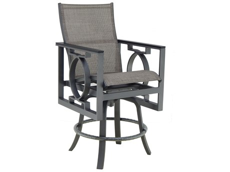 Castelle Sunrise Sling Cast Aluminum High Back Swivel Counter Stool