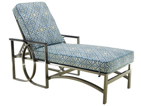 Castelle Hermosa Cushion Cast Aluminum Adjustable Chaise Lounge with Wheels