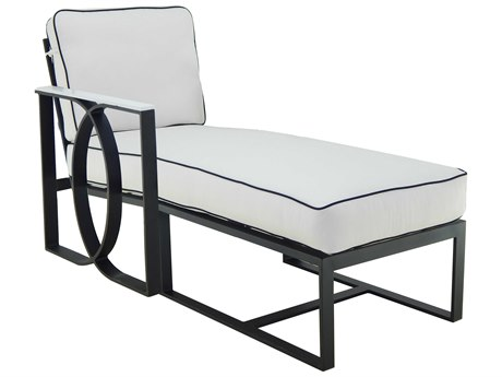 Castelle Hermosa Sectional Cast Aluminum Cushion Right Arm Chaise Lounge Unit