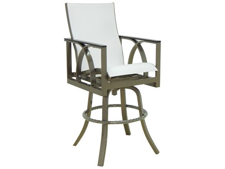 Castelle Hermosa Sling Cast Aluminum High Back Swivel Bar Stool
