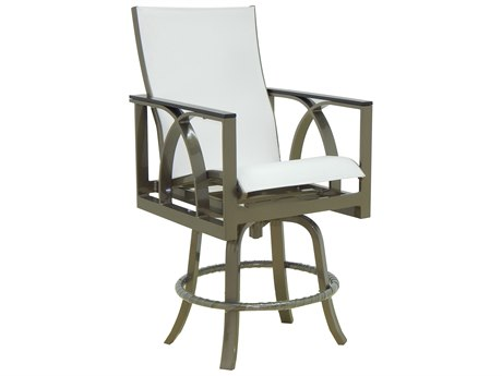 Castelle Hermosa Sling Cast Aluminum High Back Swivel Counter Stool