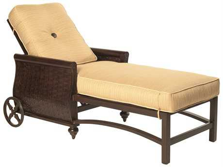 Castelle French Quarter Cushion Cast Aluminum Adjustable Chaise Lounge with Wheels