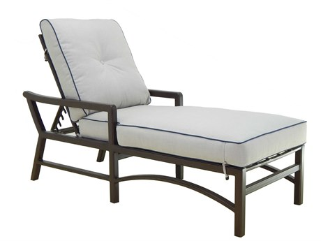 Castelle Legend Cushion Aluminum Adjustable Chaise Lounge with Wheels