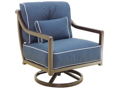 Castelle Legend Deep Seating Aluminum Cushion Lounge Swivel Rocker with One Pillow