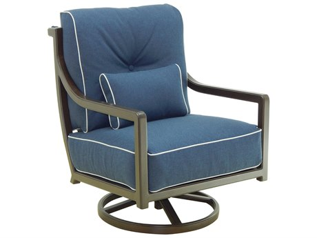 Castelle Legend Deep Seating Aluminum Cushion High Back Lounge Swivel Rocker with One Accent