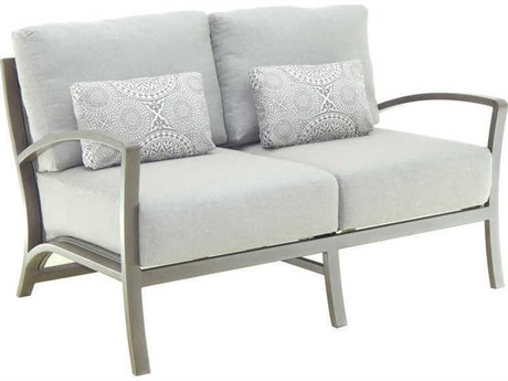 Castelle Napoli Deep Seating Aluminum Cushion Loveseat with Two Pillows