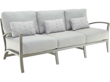 Castelle Napoli Deep Seating Cast Aluminum Cushion Sofa with Three Pillows PF7314R