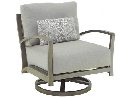 Castelle Napoli Deep Seating Cast Aluminum Cushion Lounge Swivel Rocker with One Pillow