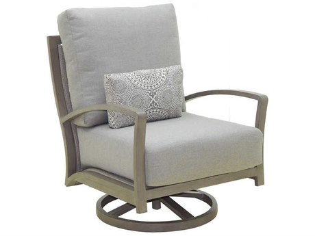 Castelle Napoli Deep Seating Cast Aluminum Cushion High Back Lounge Swivel Rocker with One Accent