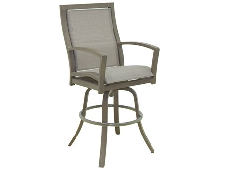 Castelle Napoli Sling Cast Aluminum High Back Swivel Bar Stool