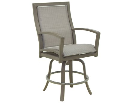 Castelle Napoli Sling Cast Aluminum High Back Swivel Counter Stool