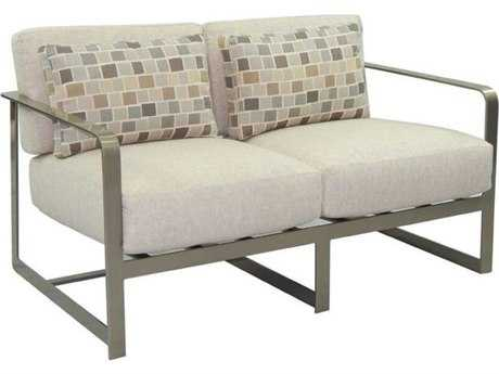 Castelle Solaris City Deep Seating Aluminum Loveseat with Two Pillows