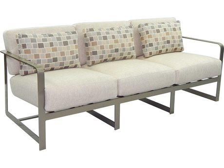 Castelle Solstice Deep Seating Aluminum Sofa with Three Pillows PF7614R