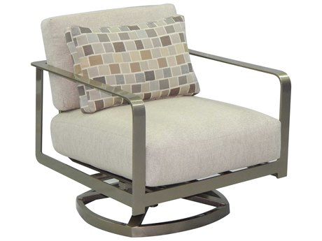 Castelle Solstice Deep Seating Aluminum Lounge Swivel Rocker with One Pillow