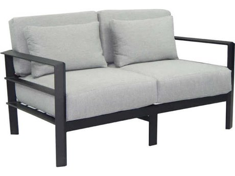 Castelle Vertice City Deep Seating Aluminum Loveseat with Two Pillows