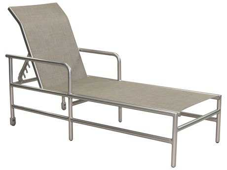 Castelle Helios Sling Aluminum Adjustable Chaise Lounge with Wheels