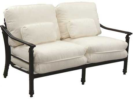 Castelle Coco Isle Cushion Cast Aluminum  Loveseat with Two Kidney Pillows