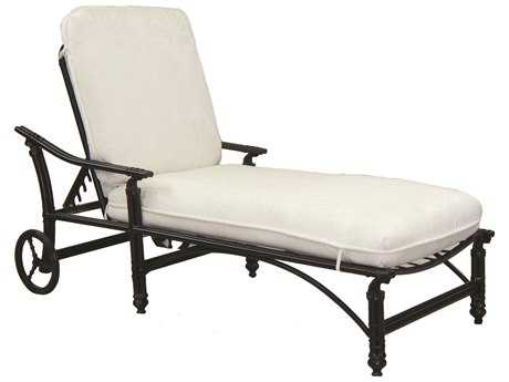 Castelle Coco Isle Cushion Cast Aluminum Adjustable  Chaise Lounge with Wheels