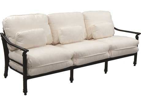 Castelle Coco Isle Cushion Cast Aluminum Sofa with Three Kidney Pillows