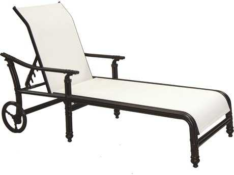 Castelle Coco Isle Sling Cast Aluminum Adjustable Chaise Lounge with Wheels