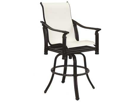 Castelle Coco Isle Sling Cast Aluminum High Back Swivel Bar Stool
