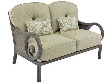 Castelle Riviera Cushion Cast Aluminum Loveseat with Two Kidney Pillows