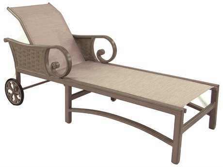 Castelle outdoor chaise lounges luxedecor for Cast aluminum chaise lounge with wheels