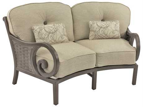 Castelle Riviera Cushion Cast Aluminum Crescent Loveseat with Two Kidney Pillows