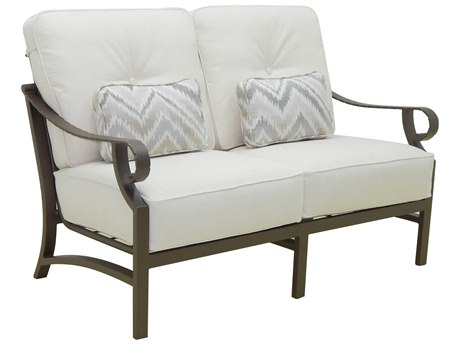 Castelle Sonesta Deep Seating Cast Aluminum Cushion Loveseat with Two Pillows