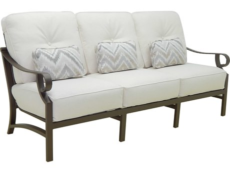 Castelle Sonesta Deep Seating Cast Aluminum Cushion Sofa with Three Pillows PF9314T