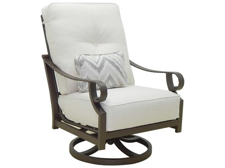 Castelle Sonesta Deep Seating Cast Aluminum Cushion High Back Lounge Swivel Rocker with One Accent