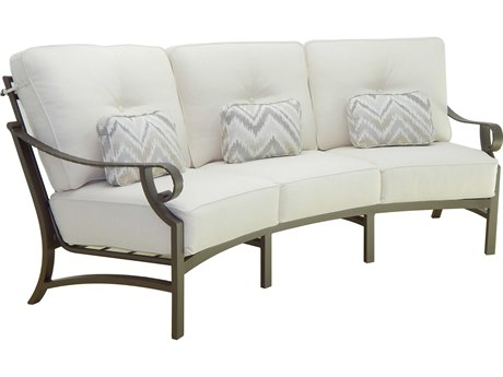 Castelle Sonesta Deep Seating Cast Aluminum Cushion Crescent Sofa with Three Accent Pillows