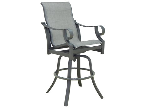 Castelle Sonesta Sling Dining Cast Aluminum High Back Swivel Bar Stool